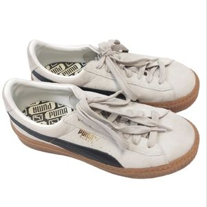 Puma Suede Off Cream Lace Up Flatform Sneakers 8